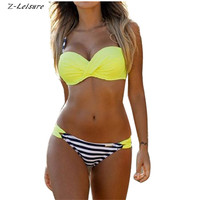 2017 Push Up Swimwear Sexy Bikini Women Low Waist Stripe Polka Dot Swimsuit Beachwear Brazilian Biquinis