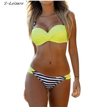 2017 Push Up Swimwear Sexy Bikini Women Low Waist Stripe Polka Dot Swimsuit Beachwear Brazilian Biquinis Maillot De Bain BK090(China)