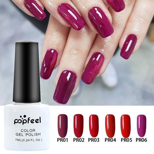 7 Popfeel ML Híbrido Unhas Embeber-Off UV Gel Nail Polish Verniz Semi Permanente Da Arte Do Prego Tudo Para Manicure polonês Gel Gellak 19 cores