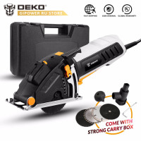 DEKO QD6905 Mini Electric Circular Saw Power Tool with Laser Guide, 4 Blades, Dust Passage, Allen Key, Auxiliary Handle, BMC Box