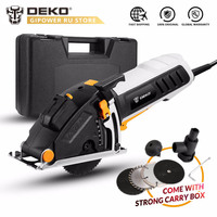 DEKO QD6905 Mini Electric Circular Saw Power Tool with Laser Guide, 4 Blades, Dust Passage, Allen Key, Auxiliary Handle, BMC Box