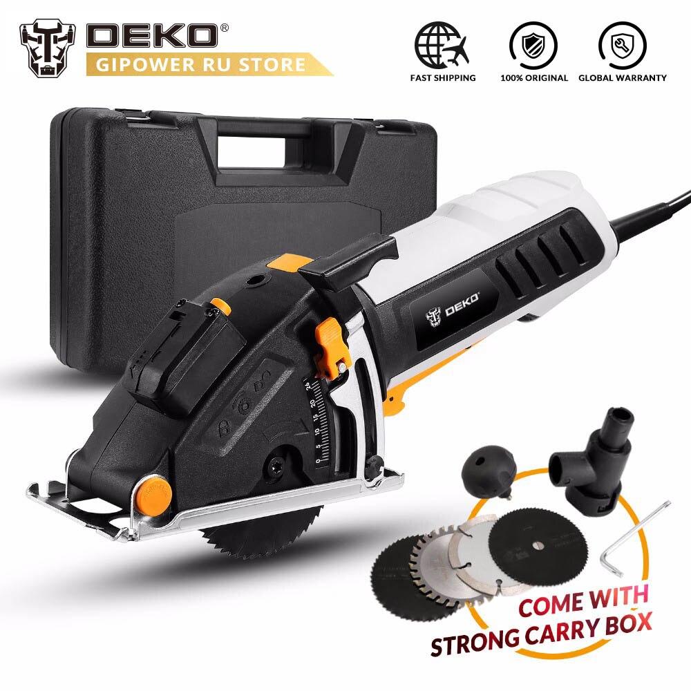 DEKO QD6905 Mini herramienta eléctrica de sierra Circular con guía láser, 4 cuchillas, paso de polvo, llave Allen, mango auxiliar, caja BMC