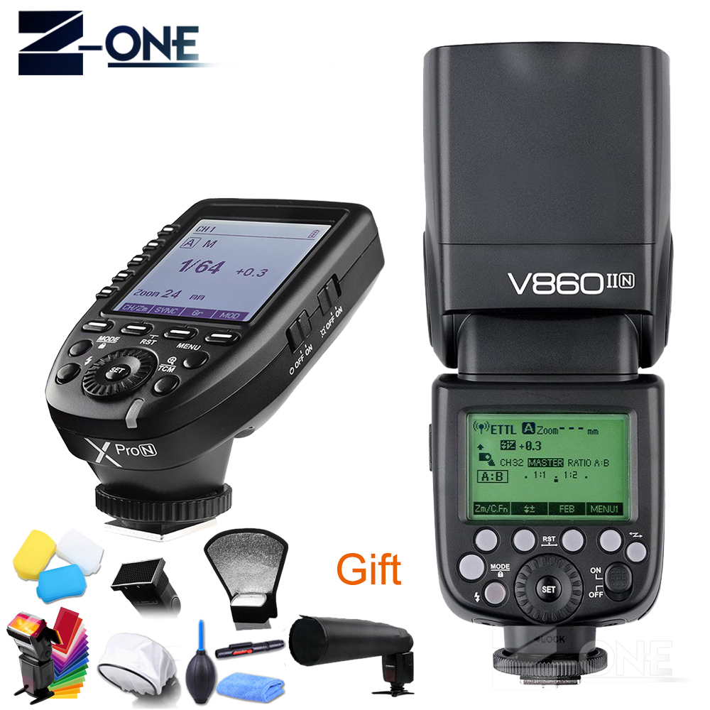 Godox Ving V860II V860II-N 2.4G HSS 1/8000 Li-ion Battery TTL Camera Flash+Wireless Transmitter Xpro-N for Nikon D850 D810 D5 D4 godox v860ii v860ii n gn60 i ttl hss 1 8000s speedlite flash w li ion battery x1t n flash transmitter for nikon camera