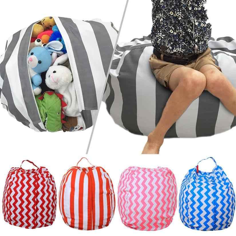 Pleasant Kids Toys Storage Bag Organizer Cotton Stuffed Animal Plush Toy Storage Bean Bag Soft Pouch Stripe Storage Bag Clothing 5O0104 Inzonedesignstudio Interior Chair Design Inzonedesignstudiocom