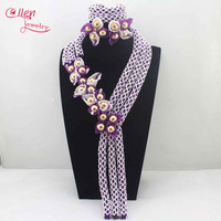 New Fabulous White/Purple Wedding African Beads Jewelry Set Indian nigerian wedding Beaded Anniversary Party Jewelry Set L0067