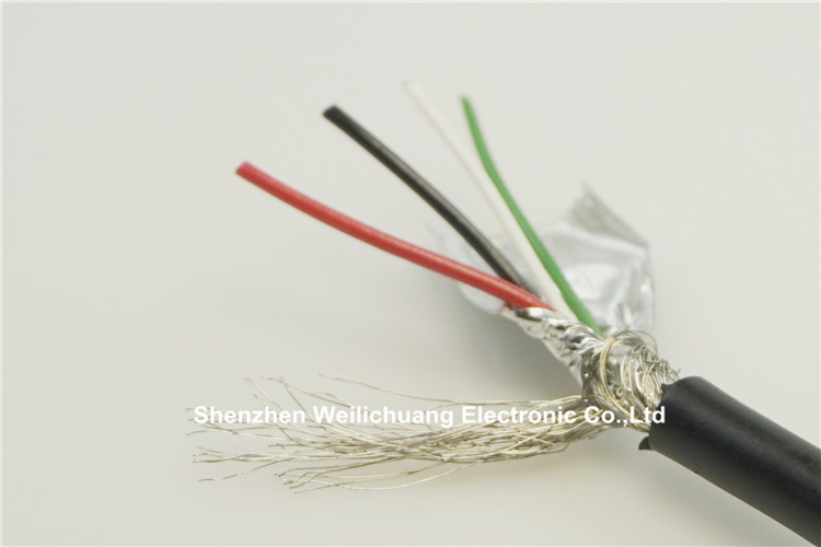 10 meter USB2.0 Fully rated Cable UL2725 standard 4 core data charge cable 24 AWG / 1P 28 AWG / 2C conductor Copper braid