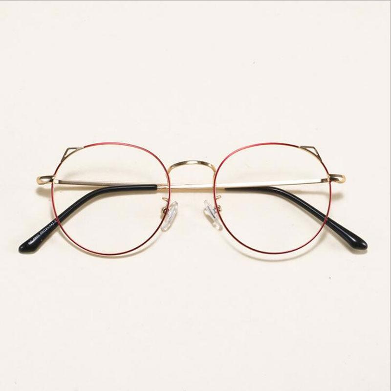 New Little Cute Cat Ear Glasses Frame Female  Myopia Frames Retro Art Eyeglasses Round Fashion Eyewear