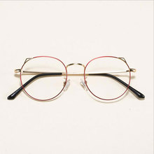 New Little Cute Cat Ear Glasses Frame Female  Myopia Frames Retro Art Eyeglasses Round Fashion Eyewear