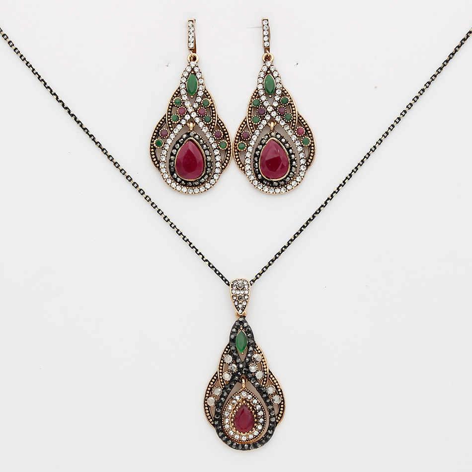 Z motywem tureckim w stylu vintage kobiety długi hak dynda kolczyk kropla wody naszyjnik zestawy biżuterii antyczne złoto kolor żywiczny etniczne Bijoux