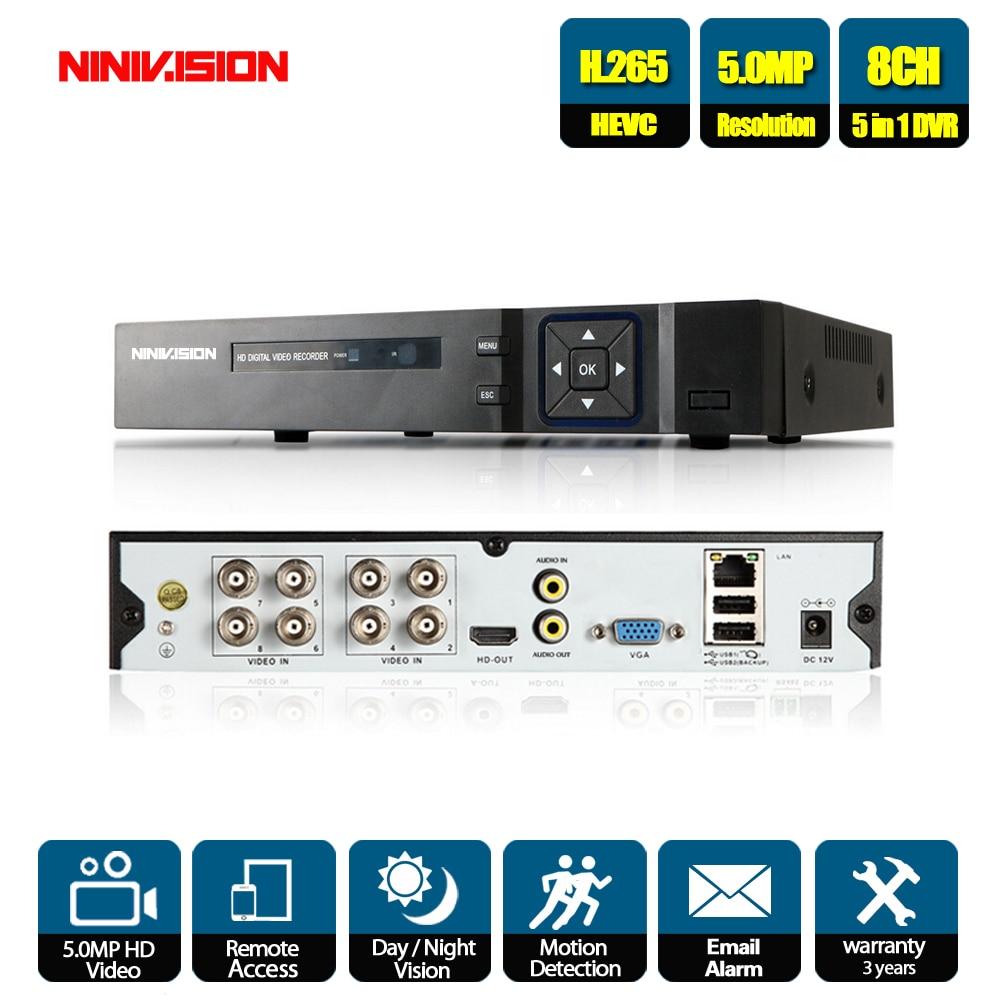 Enregistreur vidéo 8CH AHD H.265 + 5MP 4MP 1080P 8 canaux 5 en 1 hybride DVR Wifi XVi TVi CVI IP NVR pour caméras de vidéosurveillance à domicile