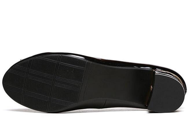 Dedo Cuero Zapatos Grueso C110 Del Moda De Genuino beige Redondo Pie Otoño Tacón Black Elegante Patente Confort Dama Madre Calzado fzwCqwxP4