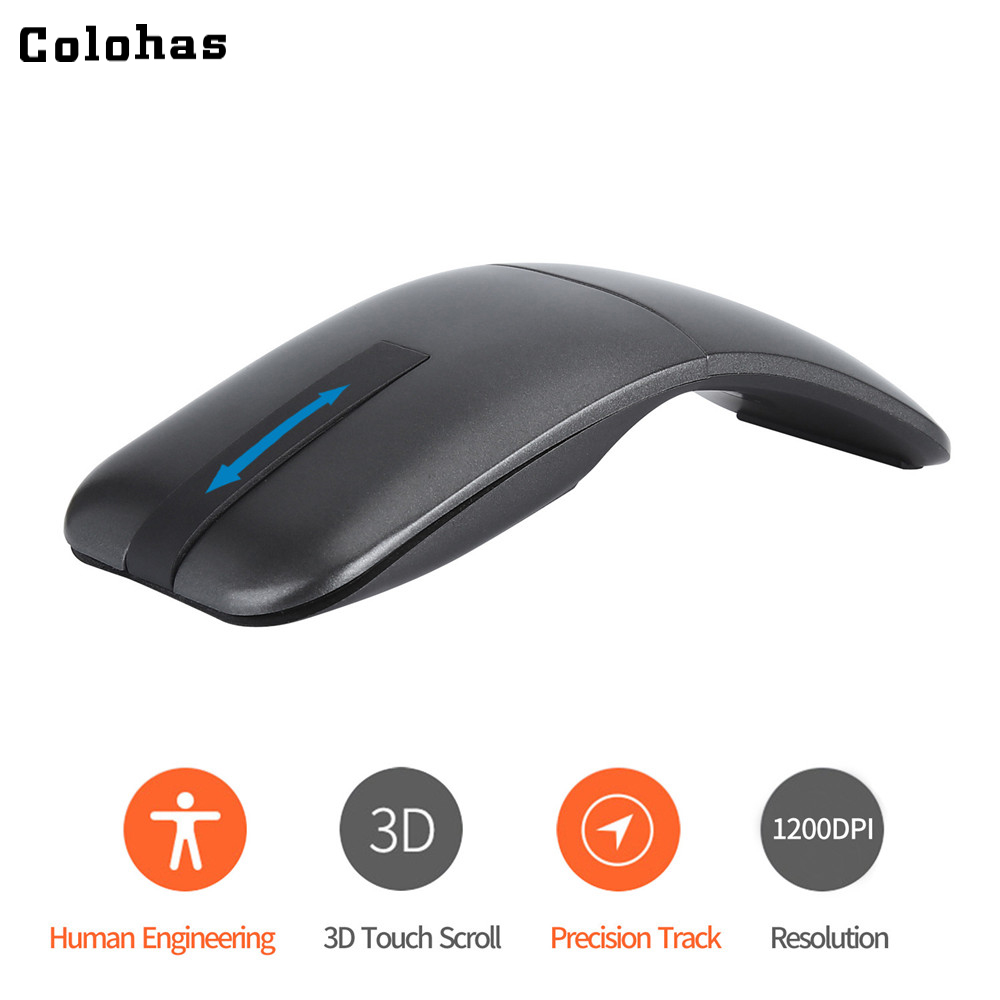 2.4G Wireless Folding Mouse Touch 3D Scroll Wheel Portable Arc Mouse 1200DPI Mice Twisted Switch For Lenovo DELL Macbook HP Asus