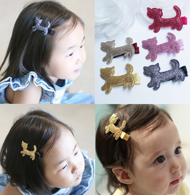 2017 New Fashion Cute Flash Cartoon Cat Baby Hairpins Girls Hair Accessories Princess Barrette kids Hair Clips Children Headwear 2 pcs 2017 new korean striped bowknot cute baby clip girls hairpins cartoon kitten hair clips kids children accessories