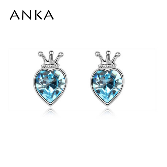 High Quality Crown Heart Crystal Earrings Jewelry Rhodium Plated Whole Price Crystals From Swarovski 94742
