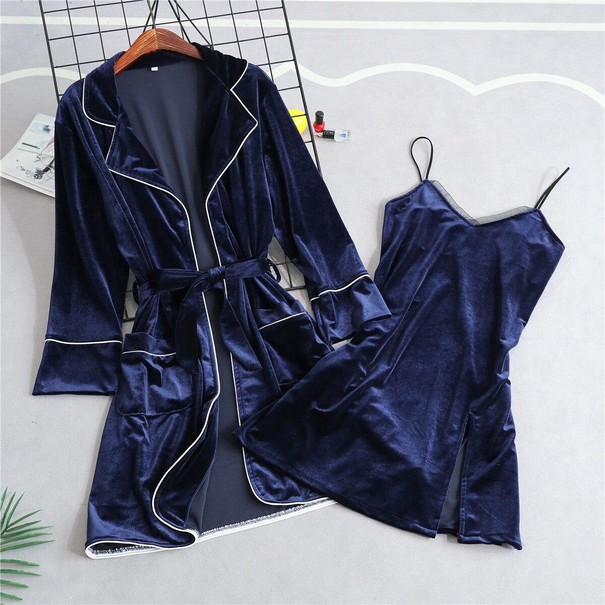 Осенне зимняя Новинка, женская одежда для сна из 2 предметов, бархатный теплый халат, Однотонная ночная рубашка и халат, костюм для сна, пижам
