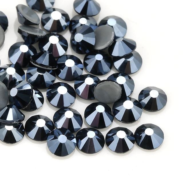 QIAO New Color Iron on AAA Rhinestone Shiny Black AB Rhinestones Flat Back  Hot Fix Crystal Glass Garment Wedding Dress Gem 0d125f59ef7b