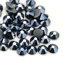 QIAO New Color Iron on AAA Rhinestone Shiny Black AB Rhinestones Flat Back Hot Fix Crystal Glass Garment Wedding Dress Gem