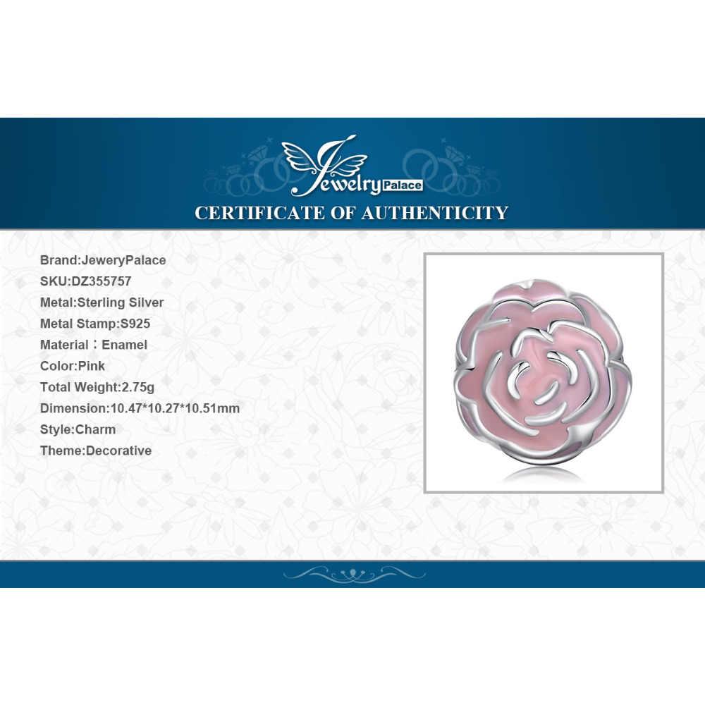 Jewelrypalace 925 prata esterlina início puberdade flores rosa esmalte contas encantos ajuste pulseiras presentes para a moda feminina jóias