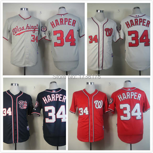 innovative design 66132 aab75 Free Shipping Washington Nationals 34 Bryce Harper Jersey ...
