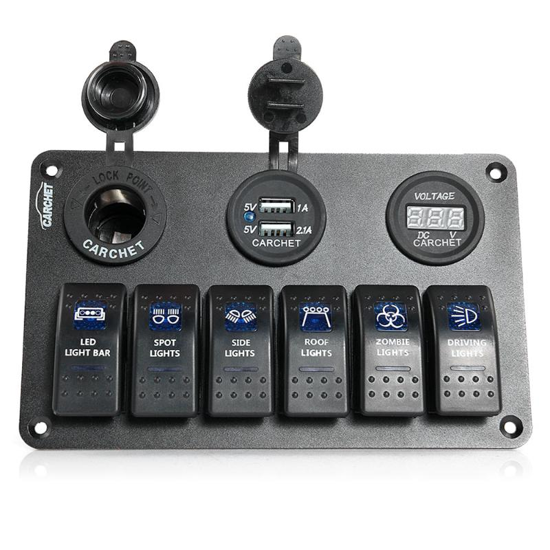 narva rocker switch wiring diagram carrier carchet 6 gang led car boat panel 2 usb socket cigaretter plug voltmeter switches in relays from