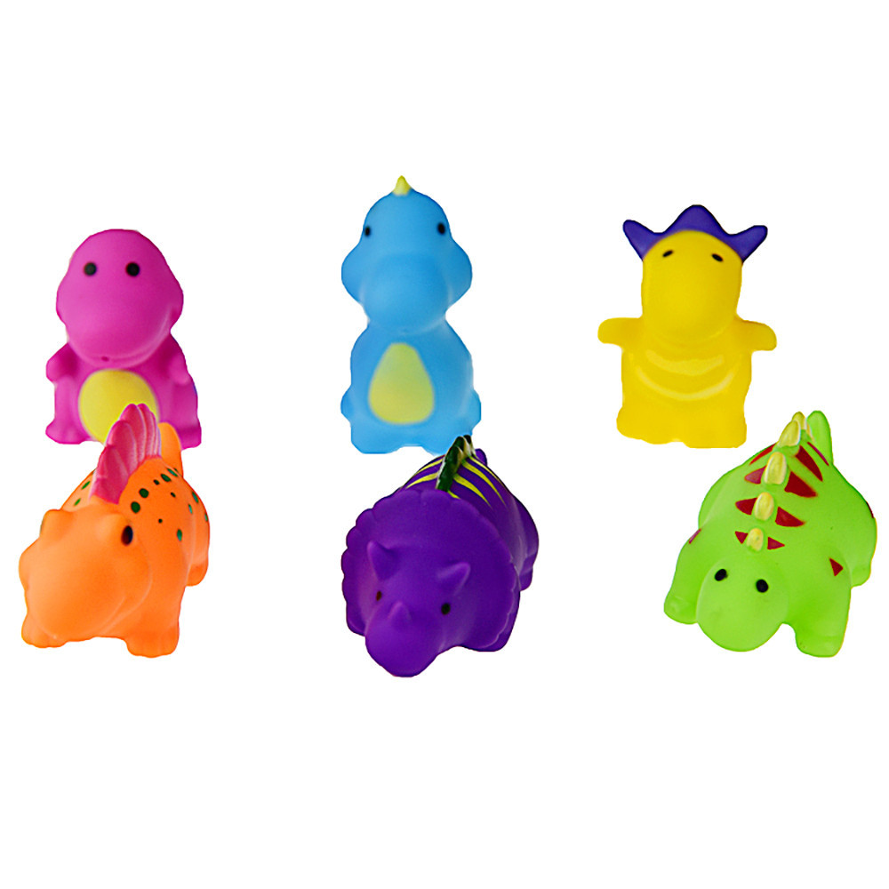 New Soft Cartoon One Dozen 6pcs Rubber Animals With Sound Baby Shower Party Favors Toy High Quality Drop Shipping