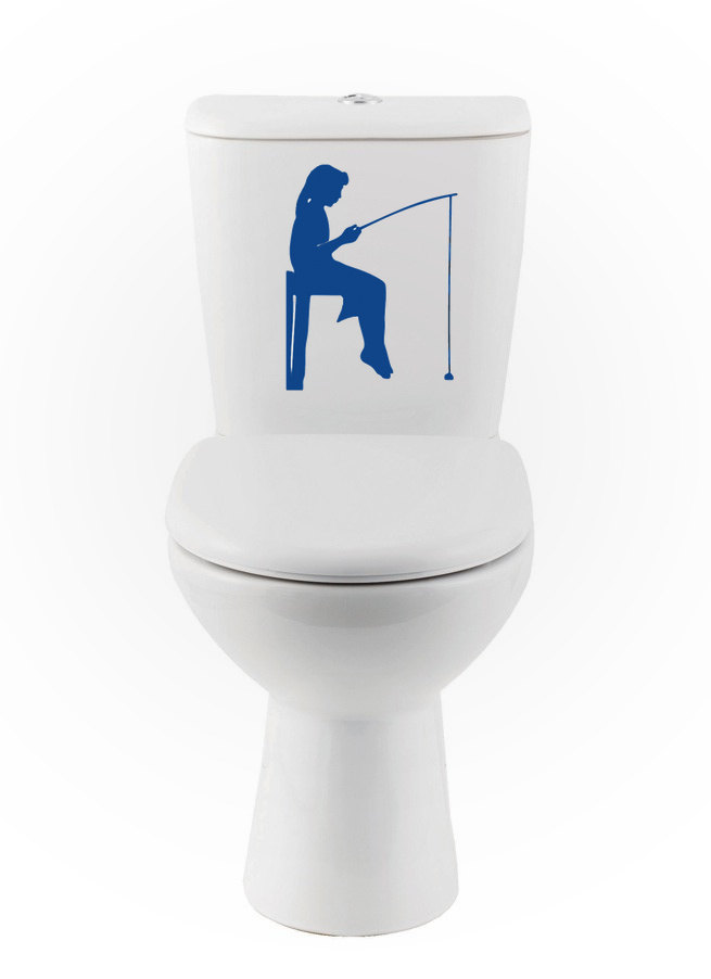 Hot Selling Beautiful Girl Gone Fishing Silhouette Toilet Seat Vinyl Decal Washroom Decor Stickers Bathroom Interior Design s-76 toilet seat