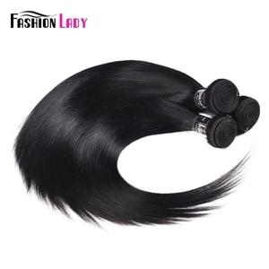 Image 3 - FASHION LADY Pre Colored Brazilian Hair Weave Bundles 1# Dark Black Straight Hair Weaving 100% Human Hair 4 Bundles Non Remy