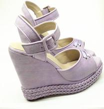 Hot Selling Peep Toe Platform Wedge Sandal for Woman 2018 Summer Super High Buckle Strap Gladiator Black Purple Pink