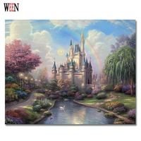 Dream Castle Painting By Numbers On Canvas DIY Handpainted Oil Painting Coloring By Numbers Home Decor