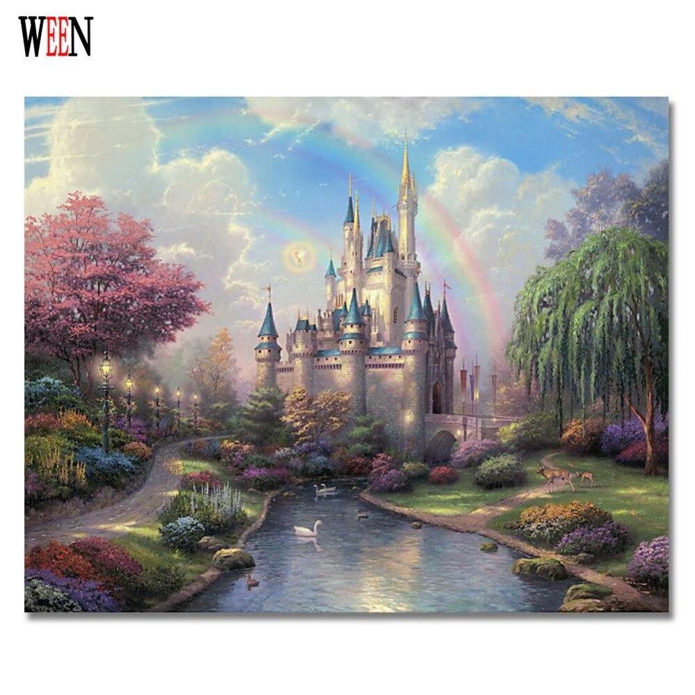 Ween Castillo cuadros de pintura por números sobre lienzo pintado a ...