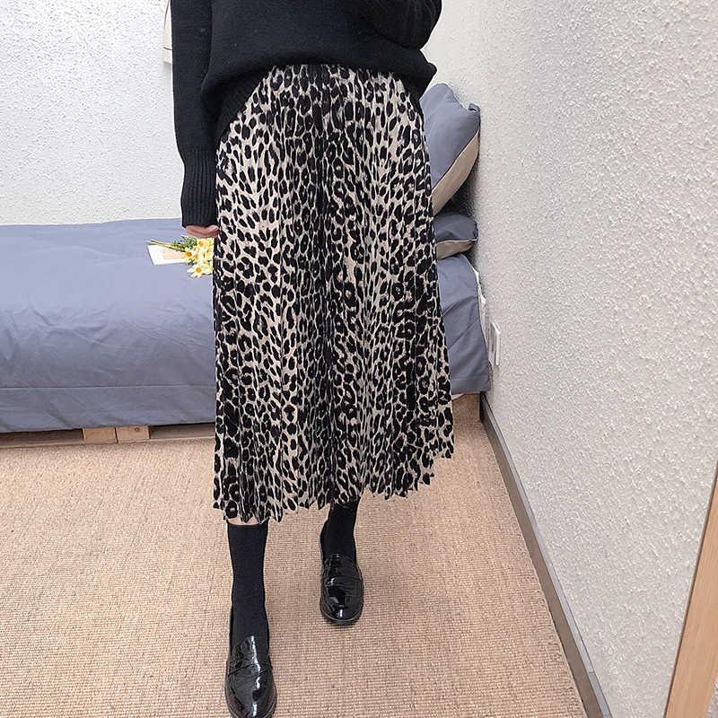 11b3bf98f52 Хорошее качество для женщин юбки леопарда эластичный пояс Мода High Street  печати плиссированные юбки длинные до