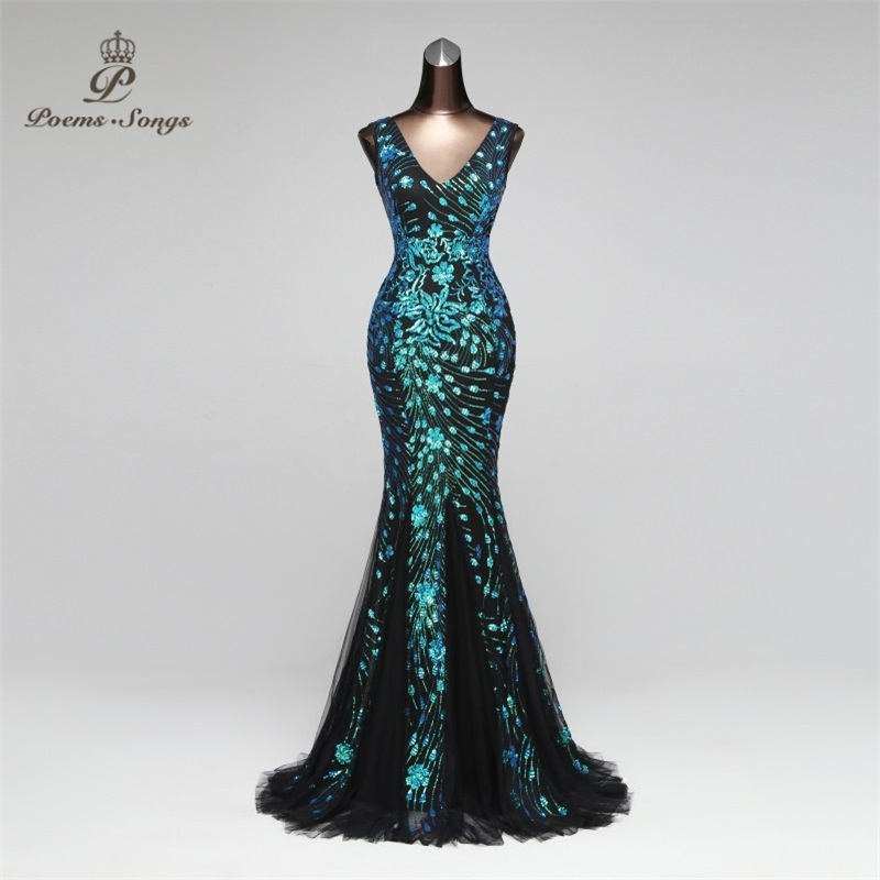 Poems Songs 2019 Double-V Mermaid  Evening Dress prom gowns Formal Party dress vestido de festa Elegant Luxury  robe longue(China)