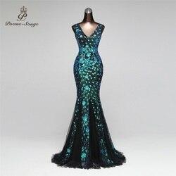 Gedichten Nummers 2019 Dubbele-V Mermaid Avondjurk prom jassen Formele Party dress vestido de festa Elegante Luxe gewaad longue