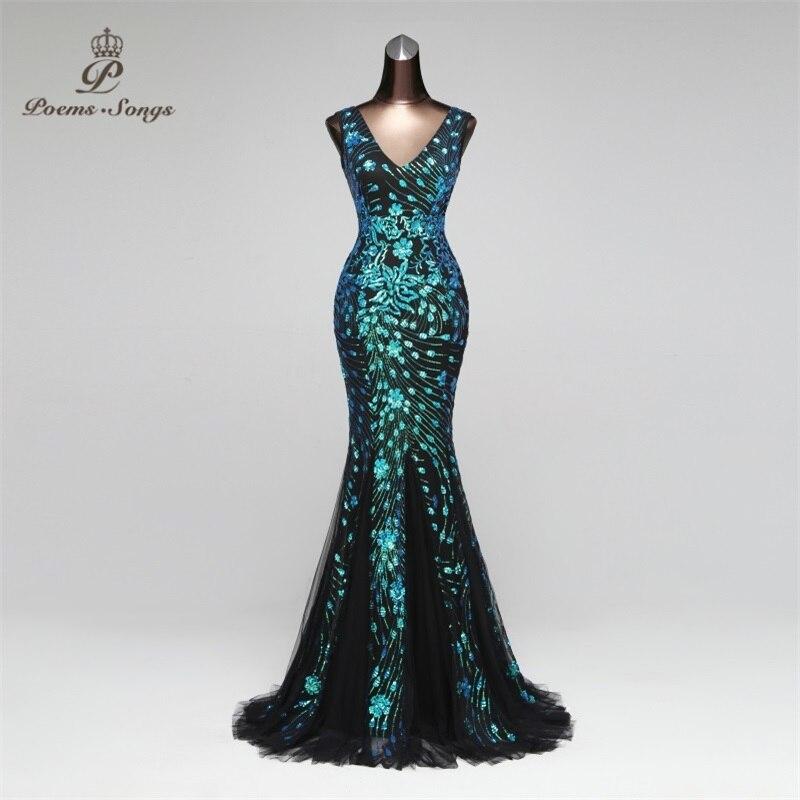Poèmes chansons 2019 Double-V sirène robe de soirée robes de bal robe de soirée formelle vestido de festa élégant luxe robe longue