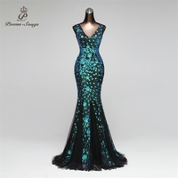 Poems Songs 2018 Double V Mermaid Evening Dress prom gowns Formal Party dress vestido de festa Elegant Luxury robe longue