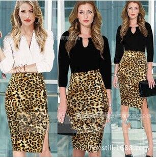 2016 Новый Женской Моде Летние Старинные карандаш юбка печати леопарда Плюс Размер Высокая Талия Дамы короткий период длины юбки