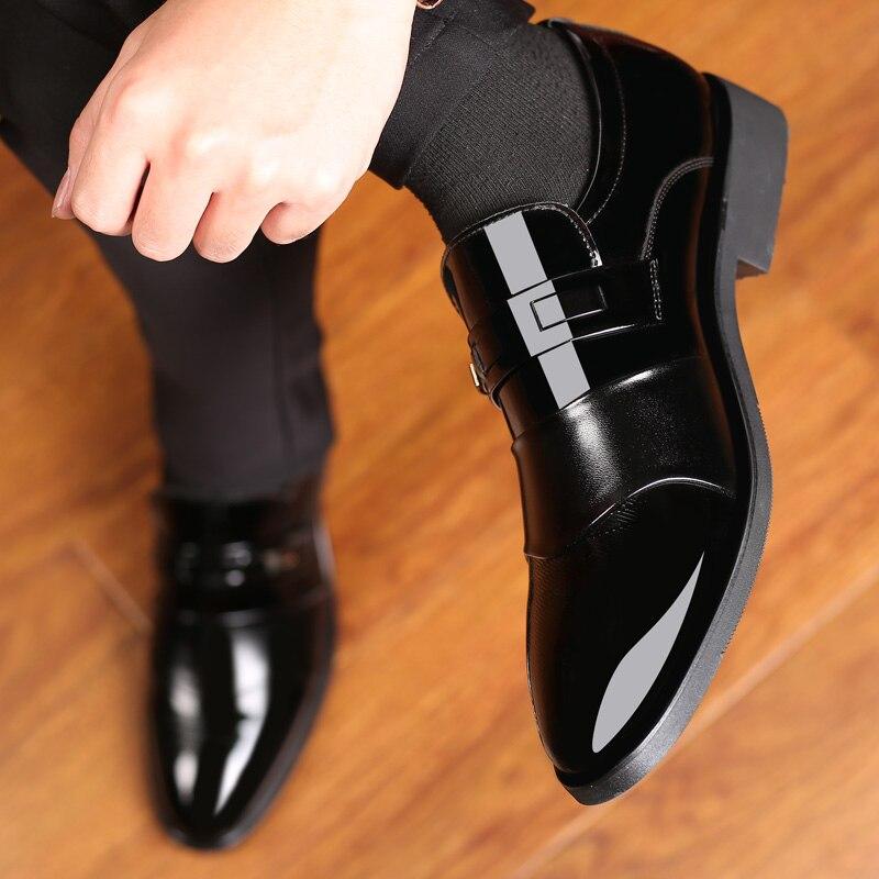 Chaussures habillées pour hommes en cuir sans lacet belle classique marron noir chaussure homme élégant fête mariage et affaires bureau chaussures formelles pour hommes - 4