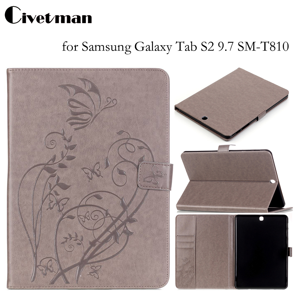 Civetman Magnetic Wallet Covers for Samsung Galaxy Tab S2 9.7 SM-T810 T815 9.7 Stand Cases with Card Slots for Galaxy Tab s2 9.7 аксессуар чехол samsung galaxy tab a 7 sm t285 sm t280 it baggage мультистенд black itssgta74 1