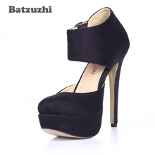 цена на Batzuzhi Sexy 14cm High Heel Shoes Round Toe Black Suede Buckles Platform Shoes for Women Party Zapatos Mujer, Size 35-40