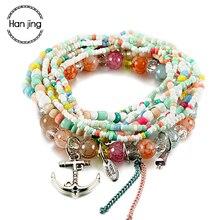 Boho Multicolor Beads Bracelets For Women With Tassel Anchor Silver Charm Bracelet Femme Jewelry Party Gift pulseira feminina-cashback