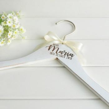 Percha de boda personalizada percha de novia personalizada regalo de damas de honor ropa de boda grabada, percha de vestido