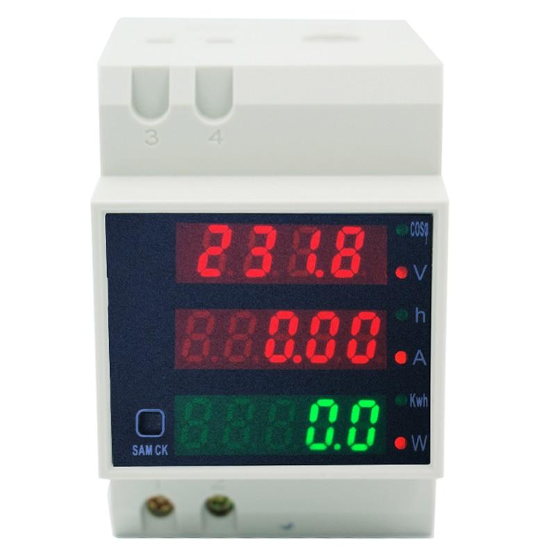 5pcs/lot Digital Led Display AC 0-100.0A Active Watt Power Factor Meter Ammeter AC80-300V Voltmeter Energy Meter Gauge 39%off