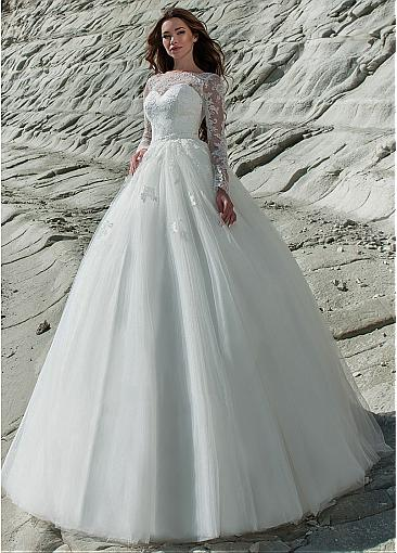 Fantastic Tulle & Lace Bateau Neckline 2 In 1 Wedding Dress Lace Appliques  Long Sleeve Bridal Dress with Removable Skirt