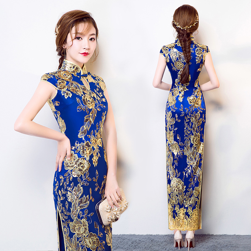 Vintage Style chinois Cheongsam robe de mariée bleu femmes dentelle longue robe Qipao fête soirée robe rétro vêtements Vestido S-XXXL