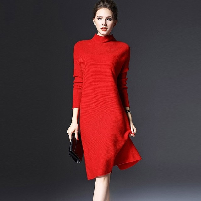 Autumn Winter Women Dress 2018 Casual Solid Loose Knitting Long Sleeve Dress Sexy Slim Elegant Red Party Dresses Plus Size 5XL