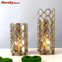 lanterne metal glass Candle Holders Lanterns Gold For Coffee Bar Wedding Decor Christmas Tealight Candle Holder bougeoir mariage
