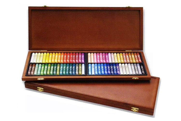 Free Shipping 72 Colors Mungyo Gallery Artists' Round Full SZ Oil Pastel Wood Box MOP-72W