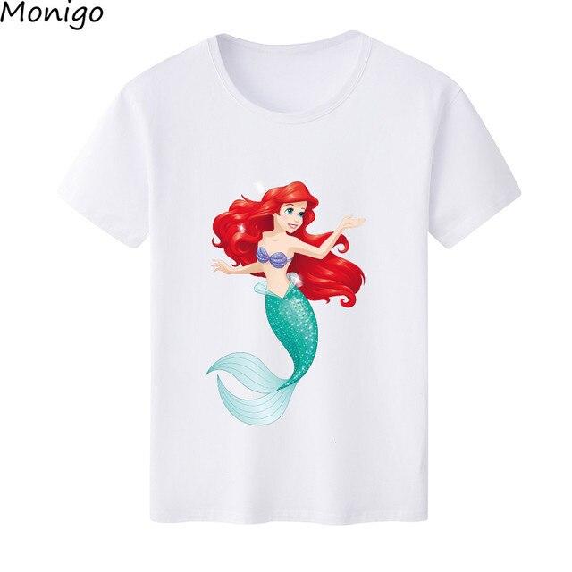 3351fff6a Bela Pequena Sereia Princesa Dos Desenhos Animados Impresso T-Shirt  Harajuku Mulheres Casual Manga Curta