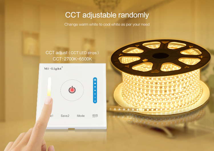 Milight CCT Smart Panel Controller Brightness and Color Temperature Switch LED Dimmer Touch Wall Controller For LED Bulb