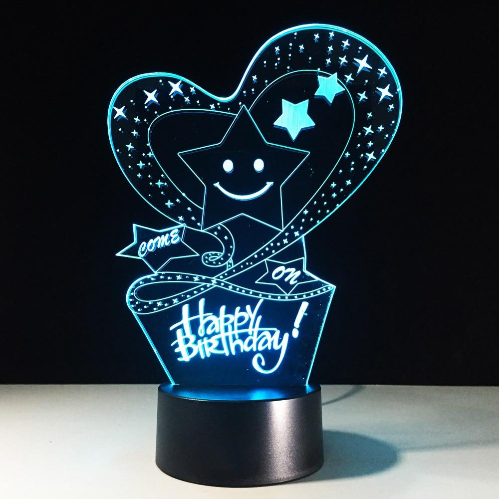 7 Color Visual Lighting HAPPY BIRTHDAY 3D LED Night Light USB Desk Lamp  Mood Atmosphere Decor Love Stars Shape Kid Birthday Gift 3a43f1d8f4ad
